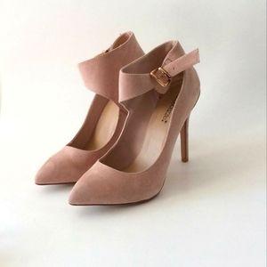 Shoe Dazzle ASHI cream color suede ankle strap heels size 9.5